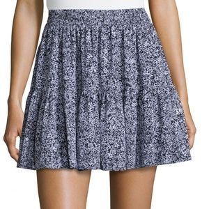 Michael Kors Black Print Tiered Ruffle Short Skirt